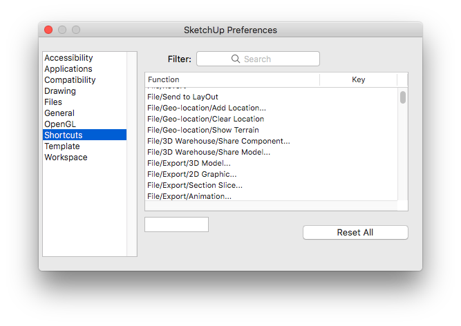SketchUp Preferences (Command + ,) > Shortcuts